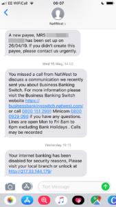 NatWest SMiShing Scam