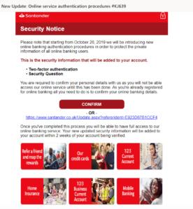 Santander phishing scam